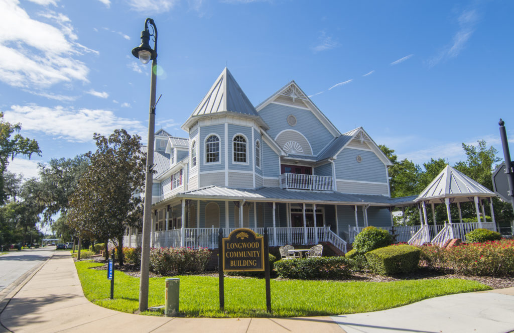 Longwood Florida historic Victorian Home called Longwood Community Building in downtown small town,