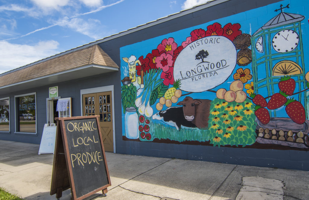 Longwood Florida 1878 artwork mural on wall in downtown small town,